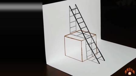 大叔画超级简单3D画,栩栩如生的绘画技巧真厉害,人人都能学会