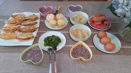 青岛一家四口的早餐:宝妈不和面用饺子皮做葱花千层饼,香而酥脆