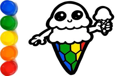 创意儿童手工简笔画:超美味!拿着蛋筒冰淇淋的双层冰淇淋宝宝!