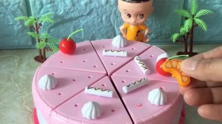 少儿幼教玩具:大头儿子亲手给小头爸爸做的生日蛋糕