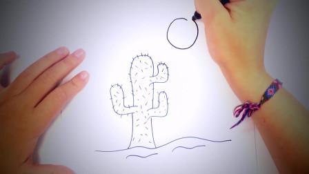 儿童简笔画:如何为孩子画沙漠_一步一步的沙漠绘画课 简笔画教学视频