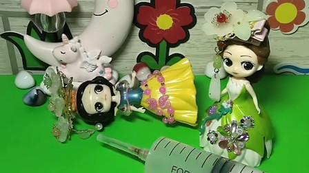 贝儿公主是童话王国的护士,白雪生病了贝儿还给她打很痛的针,小朋友快送小红心给白雪就不会痛了
