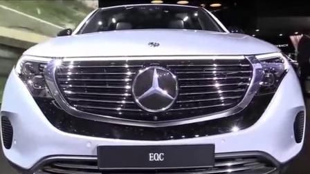 车展抢先看! 新款奔驰EQC 400汽车, 银色外观低调奢华