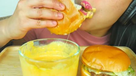 吃播微笑姐,试吃特色牛肉包,蘸着黄油酱吃好过瘾