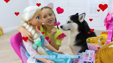 萌娃小可爱在家里布置圣诞树!小家伙真是厉害呀!萌娃:狗狗你也要帮忙吗?