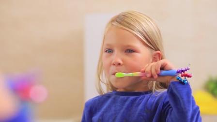 实在太棒了!萌宝小萝莉是怎样爱上刷牙呢?趣味玩具故事