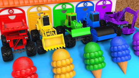 玩具车儿童玩具故事:挖掘机的冰淇淋到底去哪儿了?压路机、铲车会抓住小偷么?
