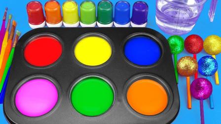 染料盘创意新玩法,早教启蒙认知萌宝给棒棒糖着色学习颜色啦!