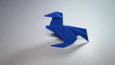 手工折纸教程,恐龙的折法,趣味霸气轻松学会