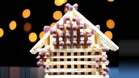 手工达人用火柴搭建小屋,点燃的一瞬间就后悔了!
