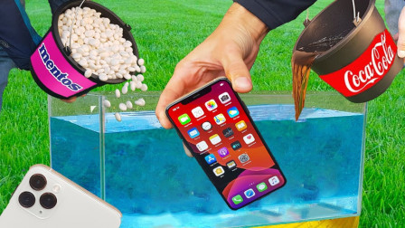 老外把最新版的苹果手机放进倒入可乐曼妥思的鱼缸,结果太意外了