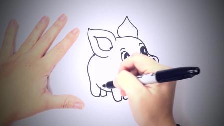 儿童简笔画:如何画猪或小猪或小猪 简笔画教学视频