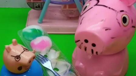 小猪乔治吃蛋糕停不下来,不听佩奇的话,结果吃的比猪爸爸还胖
