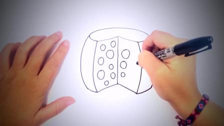 儿童简笔画:如何绘制奶酪 简笔画教学视频