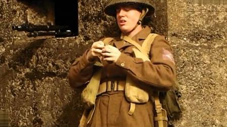 德军在碉堡用机枪疯狂扫射,不料被英军士兵用手雷消灭