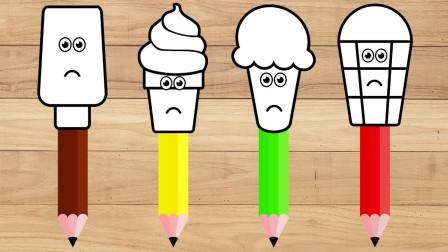 萌宝绘画小课堂:七彩冰淇淋学绘画学英语 儿童益智早教玩具故事