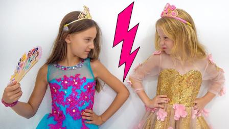 萌宝玩具儿童故事亲子游戏:小萝莉变成迪士尼白雪公主,可为何姐姐不喜欢?