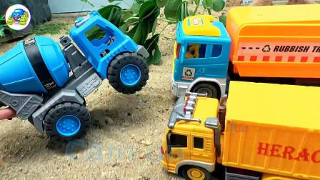 汽车垃圾车寻找和组装搅拌车玩具,婴幼儿宝宝过家家游戏视频H1293