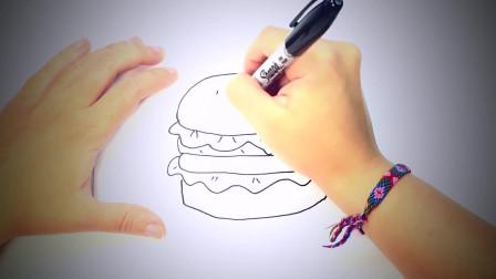 儿童简笔画:如何绘制汉堡包 简笔画教学视频