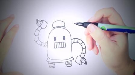 儿童简笔画:如何绘制机器人_可爱的机器人轻松绘制教程 简笔画教学视频