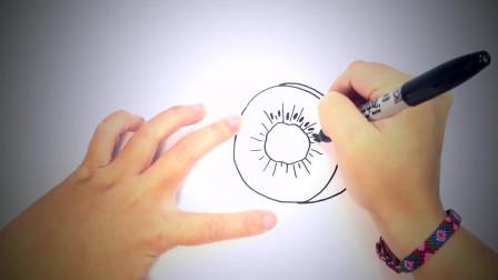 儿童简笔画:如何绘制猕猴桃 简笔画教学视频