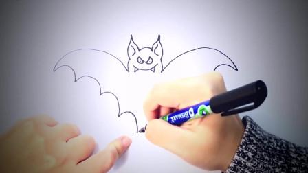儿童简笔画:如何绘制蝙蝠_ 简笔画教学视频