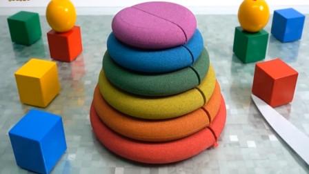 趣味手工玩具 太空彩虹动力沙制作多层蛋糕造型