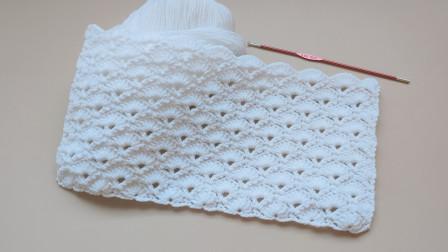 钩针编织实物比图美的扇形花样适合毛衣围巾编织针法大全