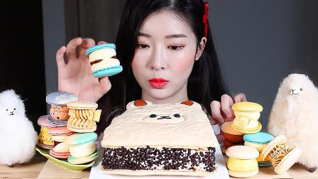 """行旅天下 韩国美女吃甜品""""马卡龙""""大餐,一个超大的马卡龙!"""