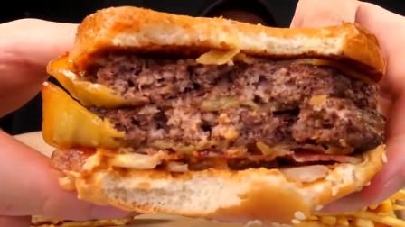吃播:帅气大胃王小哥吃汉堡和薯条,牛肉汉堡用料很足