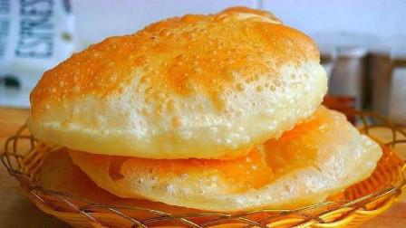 早餐最简单做法,不蒸馒头不烙饼,扔锅里个个鼓大泡,30秒一张