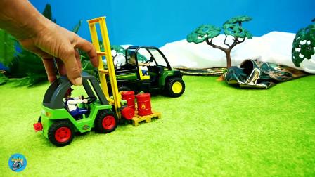 惯性农场, 拖车洒水车, 叉车装油桶,儿童玩具亲子互动