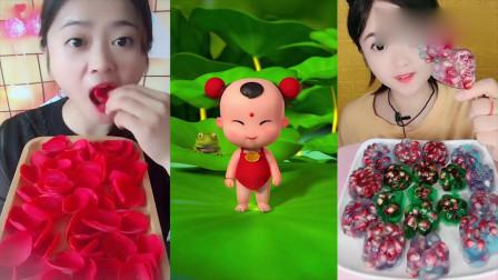 小可爱直播吃巧克力花瓣,一口下去超满足,是我童年向往的生活