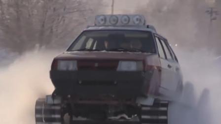 小伙改装拉达汽车,装上坦克履带和V8引擎,越野性能绝对强悍!