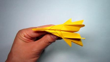 手工折纸教程,F16战斗机的折法,霸气小朋友超喜欢