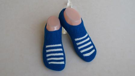 条纹地板袜的编织视频教程,简洁大方,舒适合脚,织法简单最新织法编织教案