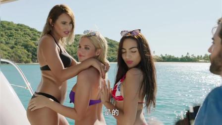 夺命五头鲨:鲨鱼船底遨游,美女船上火辣
