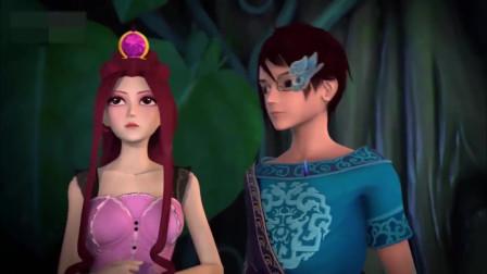 孩子爱看动画片精灵梦叶罗丽:茉莉发现顶上有个黑影,她害怕的拉住了舒言!