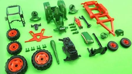 手工拼装牵引车和车厢汽车玩具
