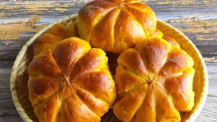 想吃面包别再买了,半个南瓜加半袋牛奶,做出松软香甜早餐小面包