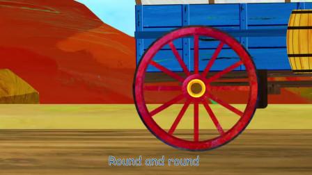公共汽车和车辆上的轮子发出童谣,儿童歌曲,动画