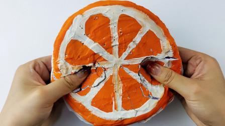 大大的橙子软心脆皮砖,一把捏碎超级解压
