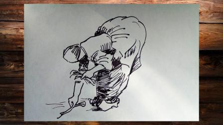 速写农民窦老师教画画