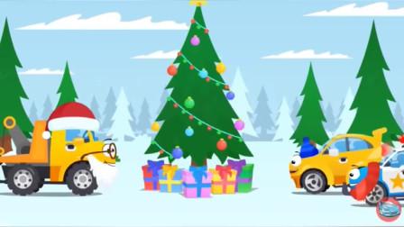 工程车变装圣诞老人给小伙伴们送圣诞礼物!工程车总动员游戏