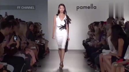 白色V领收腰包臀裙,显瘦变高优雅气质美女看个够