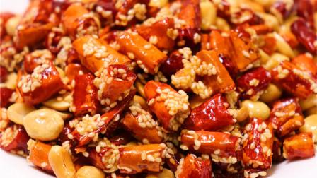香酥辣椒的简单做法,把芝麻直接灌进辣椒里,味道太香酥美味了