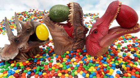 在恐龙头套里变出来好多的巧克力豆和恐龙蛋