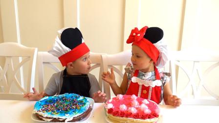 萌娃小可爱们自己动手制作的蛋糕可真漂亮呀!两个小家伙真是棒棒哒!