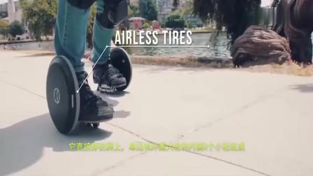 最小电动车,直接穿在脚上,走路像飞行,用完装包里,非常炫酷