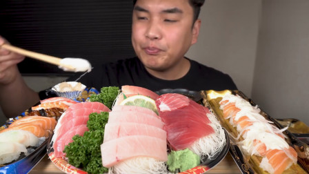 韩国大胃王吃三文鱼刺身,搭配刺身寿司一口一个,吃相太诱人了!